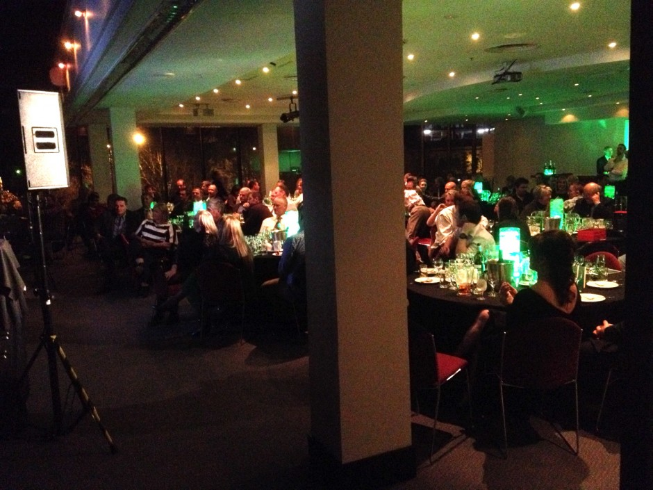 crowd sitting at a recent corporate stand up comedy gig